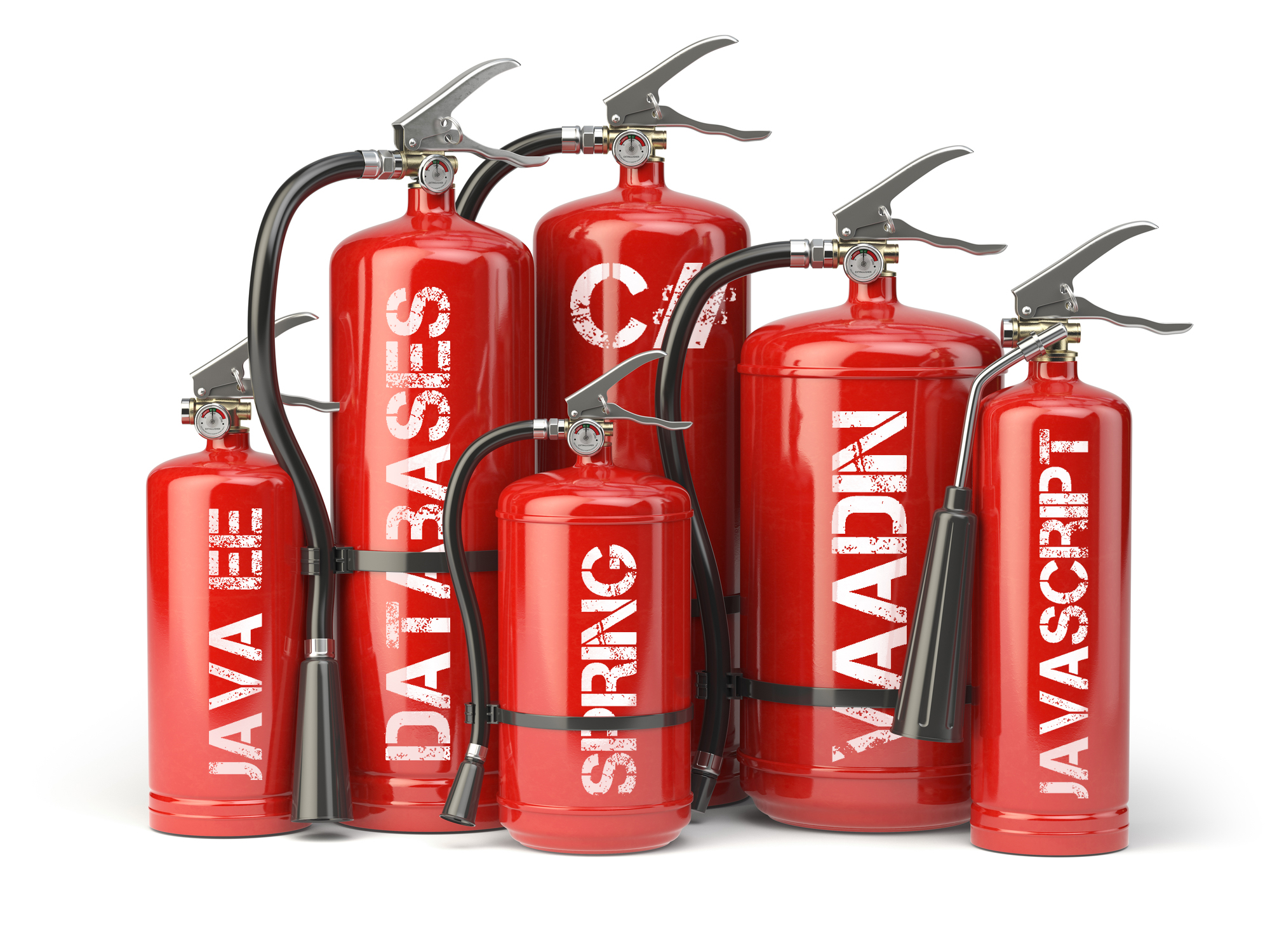 Fire extinguishers isolated on white background. Various types o